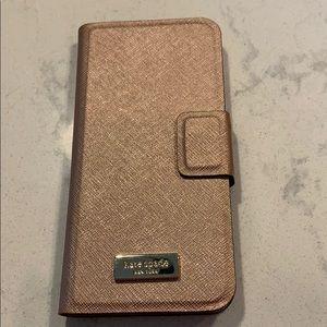Kate Spade IPHONE 6 folio case in Rose Gold, EUC.